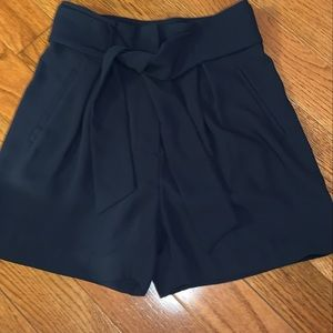 H&M navy blue high waisted shorts with tie front